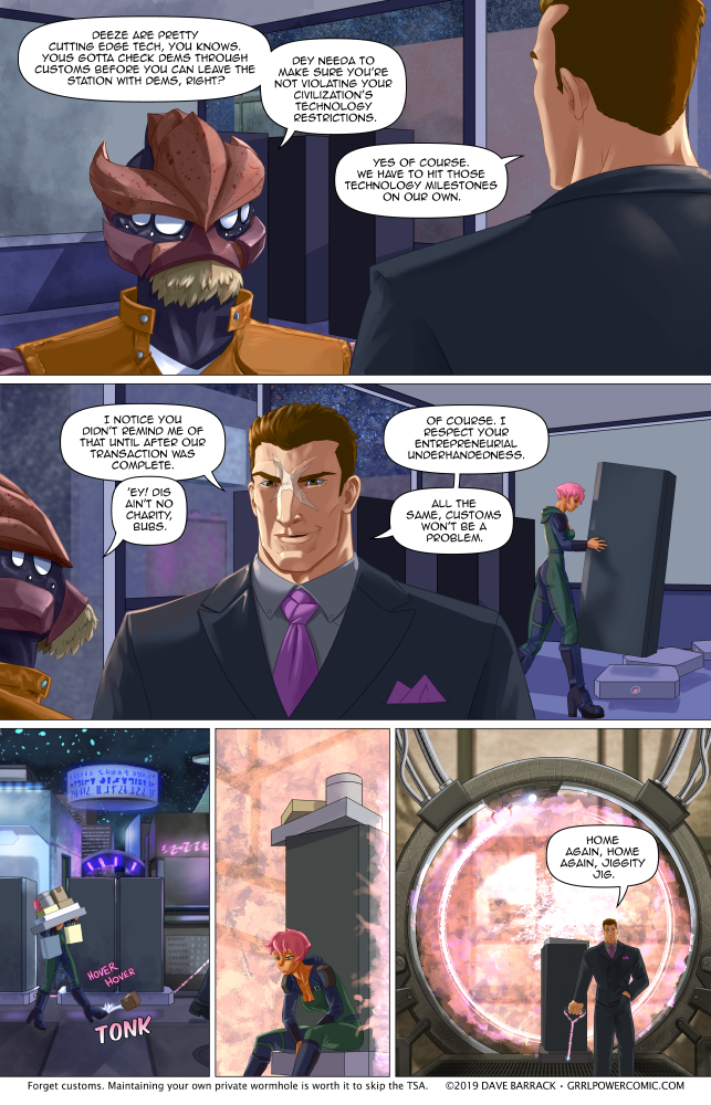 Grrl Power #700 – Too bad he's not getting miles on that trip